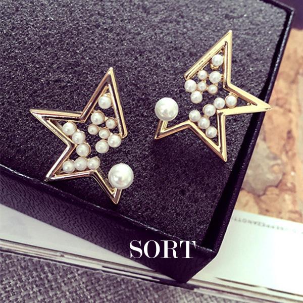 耳環歐美風格缺角五角星鑲珍珠不對稱耳針耳環1DDE0088
