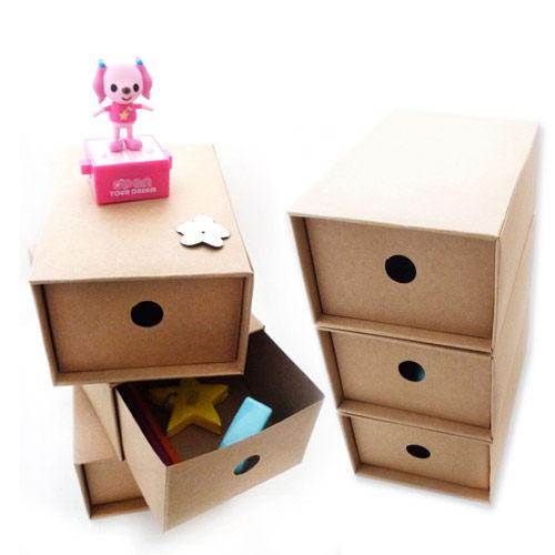 Kiret收納盒收納箱極簡牛皮紙抽屜組合3入