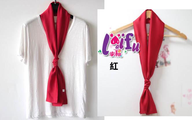得來福絲巾,k1036絲巾長款純色絲巾餐飲空姐圍巾絲巾領巾長絲巾,售價150元