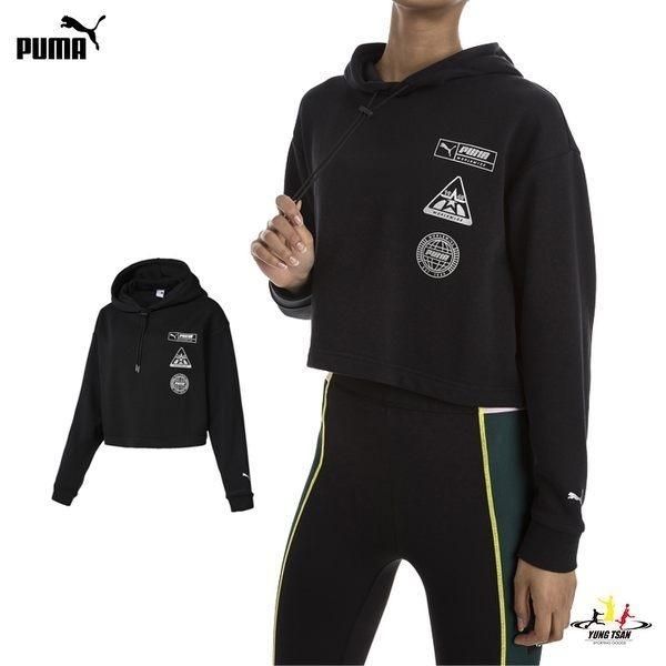 Puma Trailblazer 女 黑 短版 長袖 上衣 帽T 連帽T桖 棉質 運動 慢跑 休閒 57803401