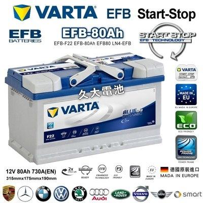久大電池德國VARTA F22 EFB 80Ah原廠電瓶BMW 218d Gt F46 2014~2016