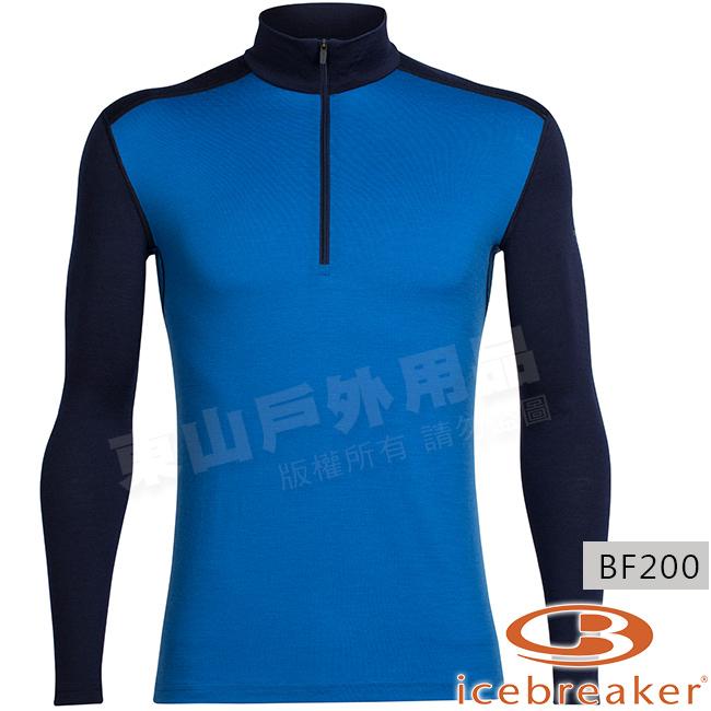 Icebreaker 100477-405藍深藍男羊毛半開襟保暖衣Oasis美麗諾控溫立領休閒上衣排汗快乾機能服