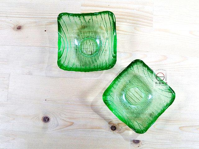 佐和陶瓷餐具批發 【XL060827-9 綠方角形珍味小缽-日本製】日式 調味碟 透明小缽 飯店