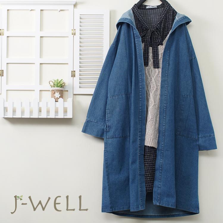 J-WELL 雪紡洋裝長版針織背心兩件式連帽牛仔外套二件組(組合A629 9J1096卡+9J1112藍)