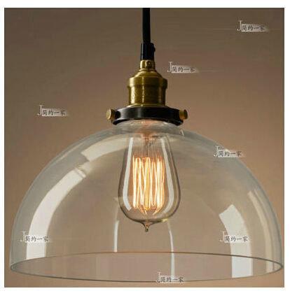 美式鄉村銅玻璃透明吊燈YG-5036