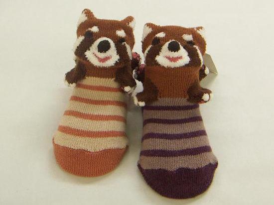 POMPKINS BABY日本3D動物造型襪子兒童襪紫色浣熊