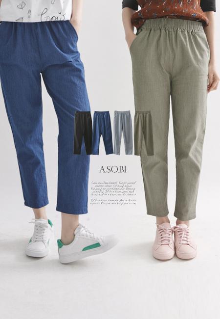 A-SO-BI韓系-牛仔感斜紋棉腰彈性口袋休閒長褲【R70397-14】