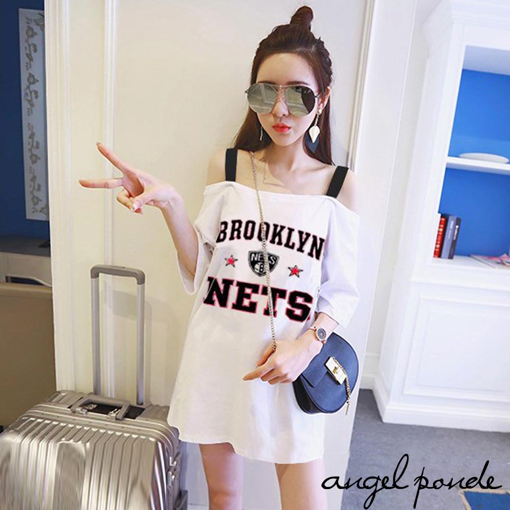 天使波堤【LE0102】 Brooklin盾牌字母星星平口吊帶性感寬鬆加大吊帶露肩T恤洋裝-長版上衣可當洋裝