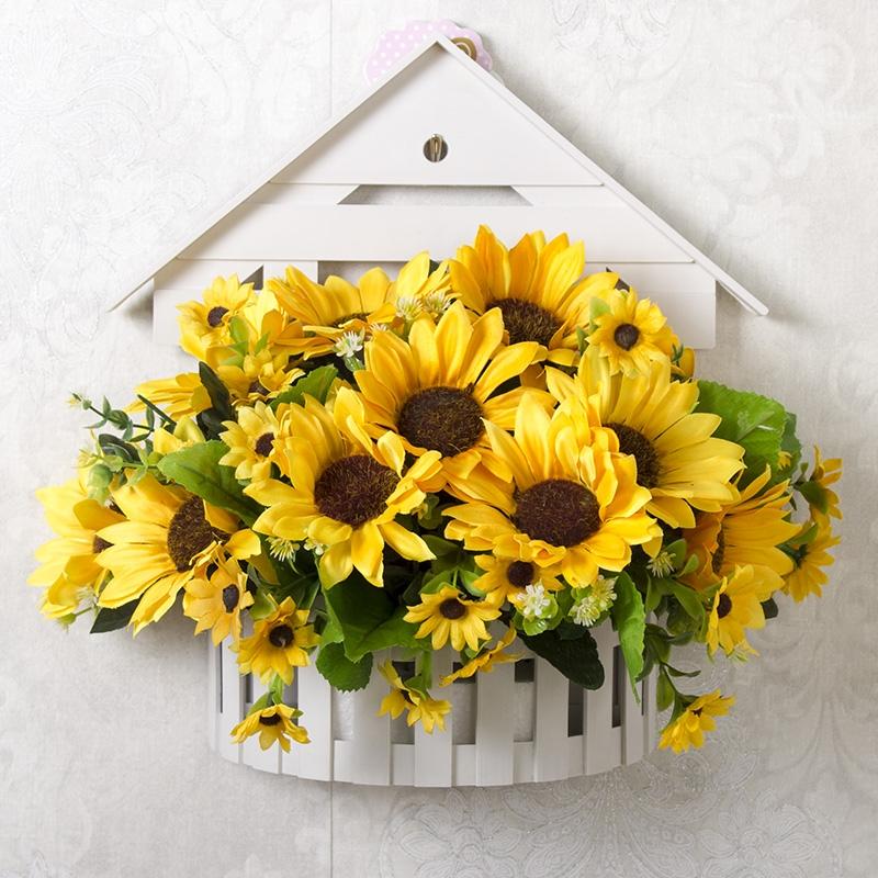 壁掛假花仿真花掛墻壁裝飾花籃花束套裝人造花