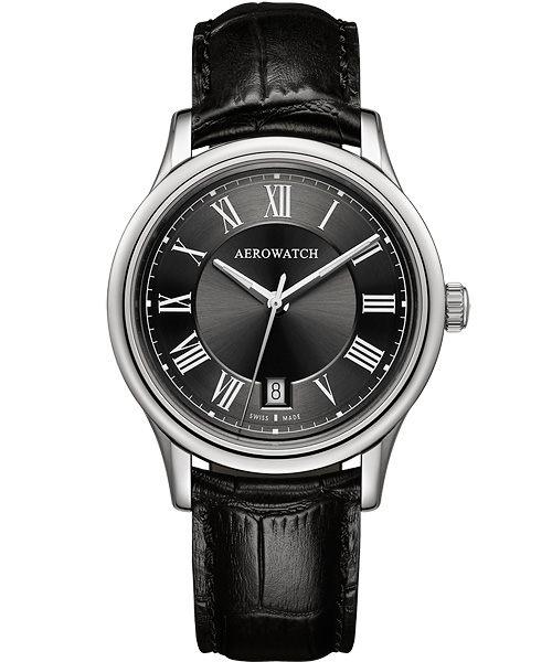 AEROWATCH 羅馬簡約時尚腕錶-黑 A24962AA02