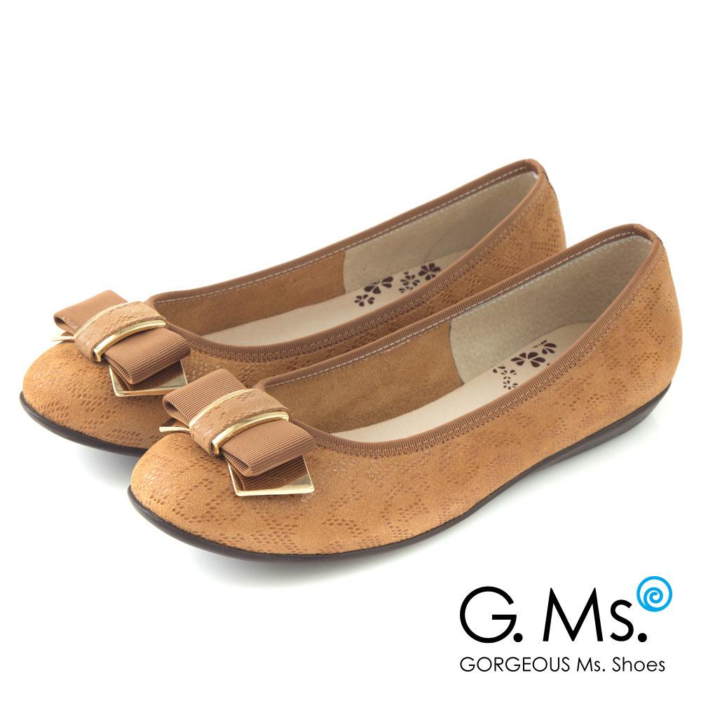 G.Ms.* MIT系列-印花圖騰羊皮飾釦蝴蝶結豆豆娃娃鞋-駝色