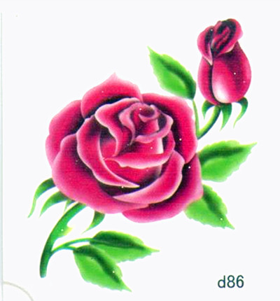薇嘉雅玫瑰花超炫圖案紋身貼紙d86