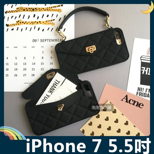 iPhone 7 Plus 5.5吋格紋包保護套軟殼時尚手提包插卡錢夾附側背長掛鍊矽膠套手機套手機殼