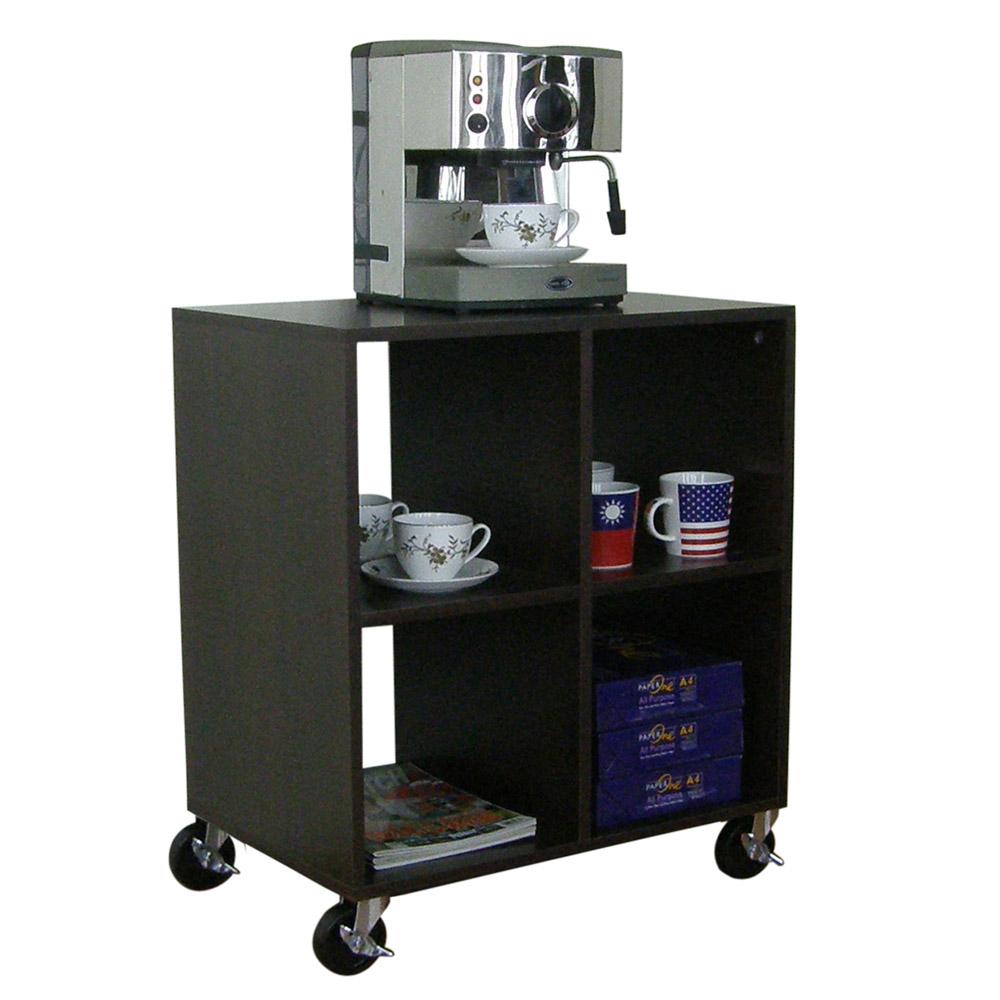 60公分(寬)四方格[活動輪]置物櫃 電視櫃 電器櫃 茶几(深胡桃木色)W60ACW4-DW