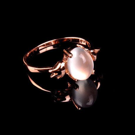 水晶月光石鑲嵌戒指大號天使蛋