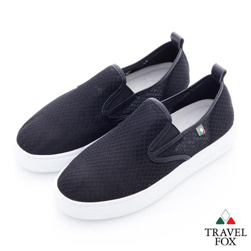 Travel Fox(女)輕快的 網紋透氣直套懶人鞋 - 黑