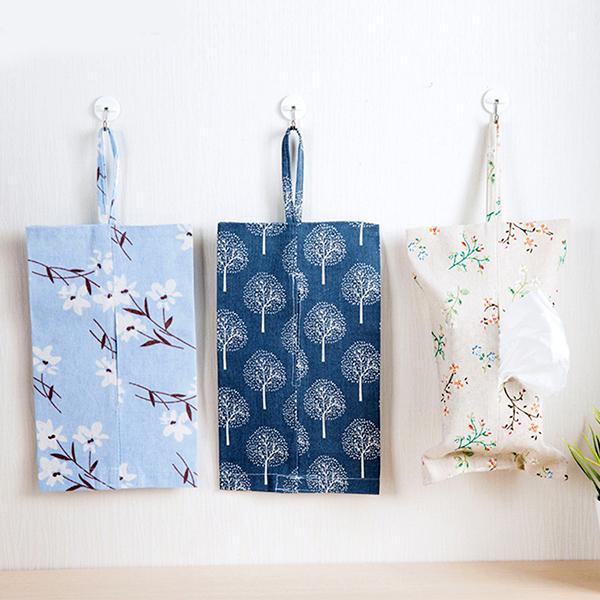 BlueCat植物家發財樹玉蘭花棉麻紙巾套面紙套面紙盒