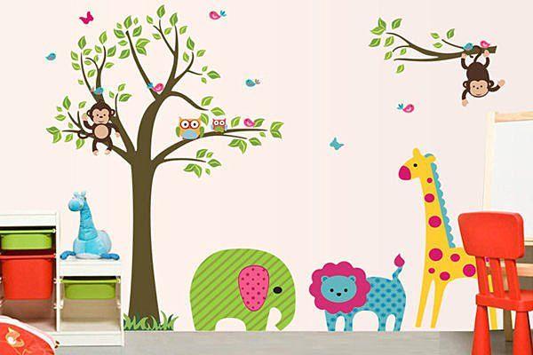 BO雜貨YV2721創意兒童壁貼牆壁貼紙背景貼時尚組合壁貼樹璧貼磁磚貼卡通樹與動物DF5071