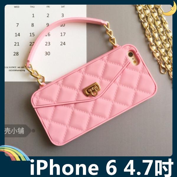 iPhone 6 6s 4.7吋格紋包保護套軟殼時尚手提包插卡錢夾附側背長掛鍊矽膠套手機套手機殼