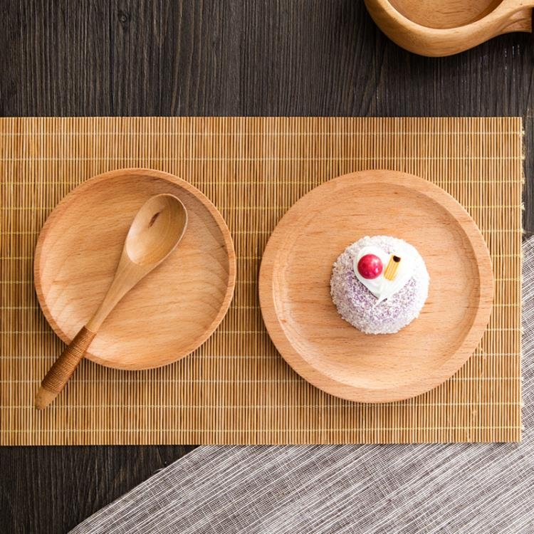 [超豐國際]木質早餐碟子家用餐具小托盤創意西餐盤水果點心蛋糕木盤子