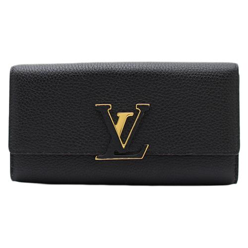 茱麗葉精品 全新精品Louis Vuitton LV M61248 Capucines 經典花紋皮革壓紋鎖扣長夾.黑(預購)