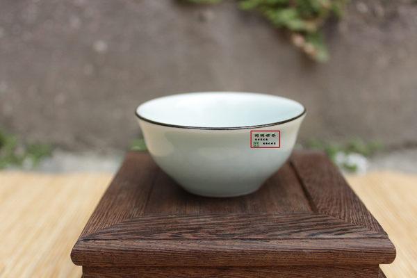 仿古手繪金魚五色普洱杯茶具青瓷浮雕魚如意反口杯