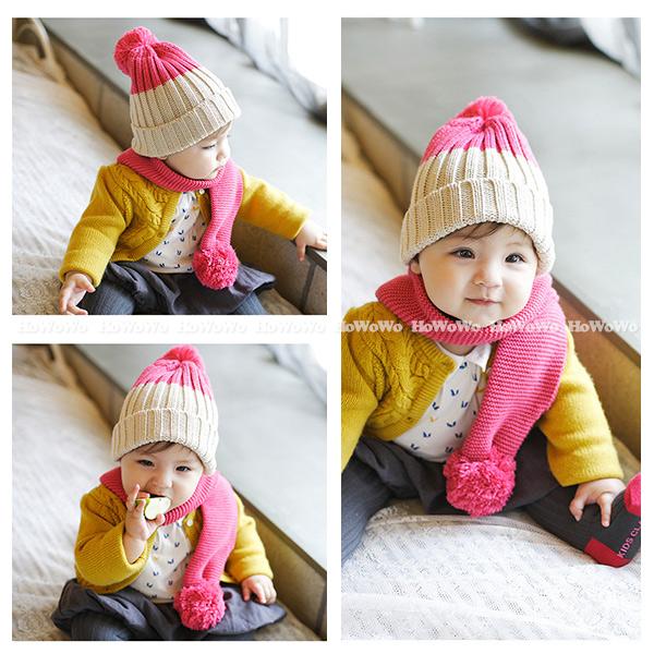 寶寶圍巾雙球針織毛線圍巾BU1561好娃娃