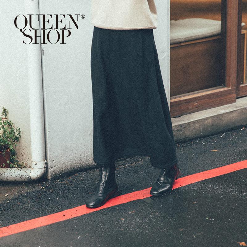 Queen Shop【03020612】刷毛柔軟黑色長裙*現+預*
