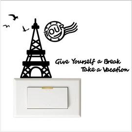 【收藏天地】防水防曬*裝飾開關貼-巴黎假期(2色) / 家飾 貼紙 配件 車貼 安全帽貼
