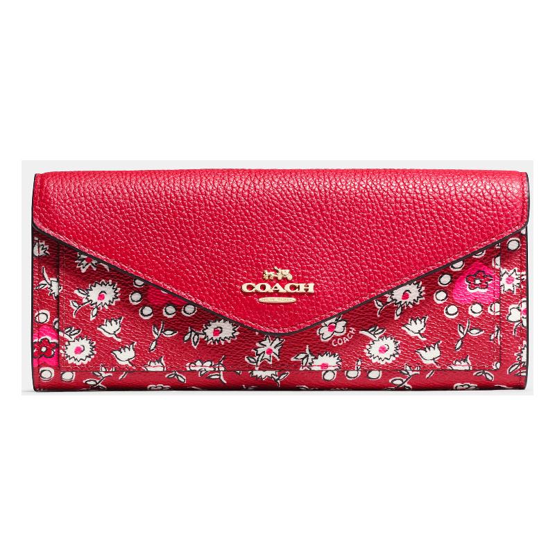 COACH F57489心型印花塗層帆布軟質皮夾錢包