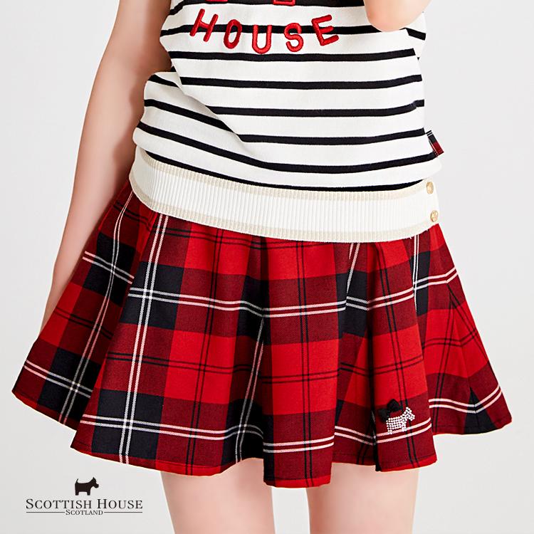 【紅黑格】腰頭彈性布格紋8版短裙 Scottish House【AH2112】