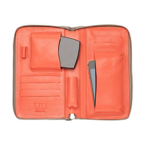 LILI RADU德國新銳時尚設計品牌手工雙色小牛皮時尚手拿多功能化妝包手機包錢包優雅褐