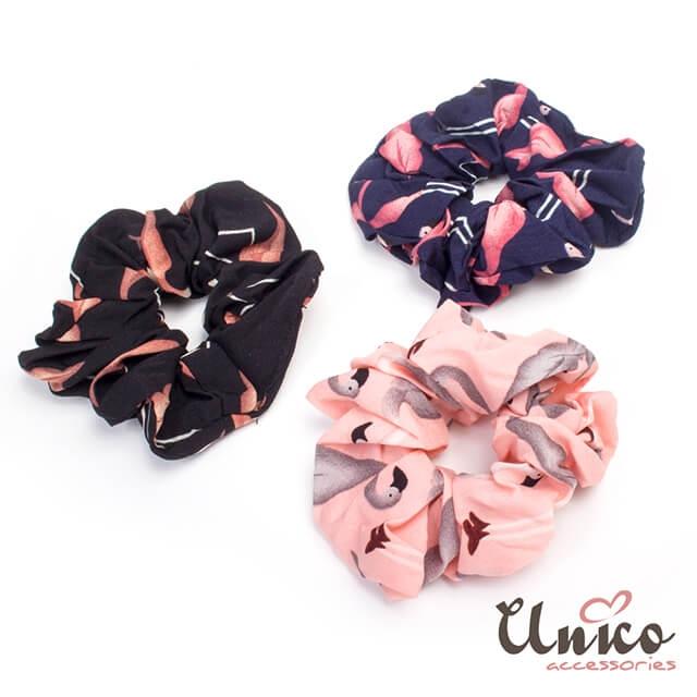 UNICO 韓版創意新款紅鶴彩繪彈力髮圈/髮飾