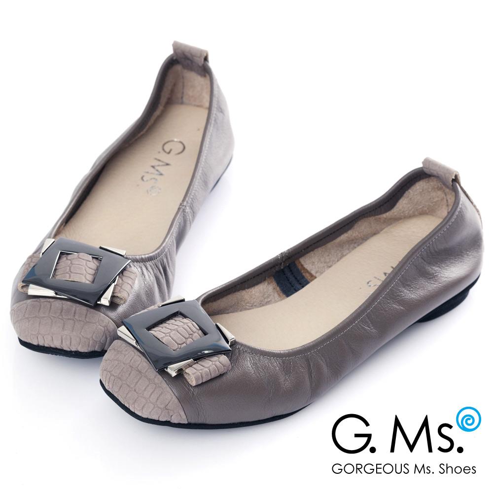 G.Ms*MIT系列-拼接鱷魚紋金屬飾釦牛皮娃娃鞋*高貴灰