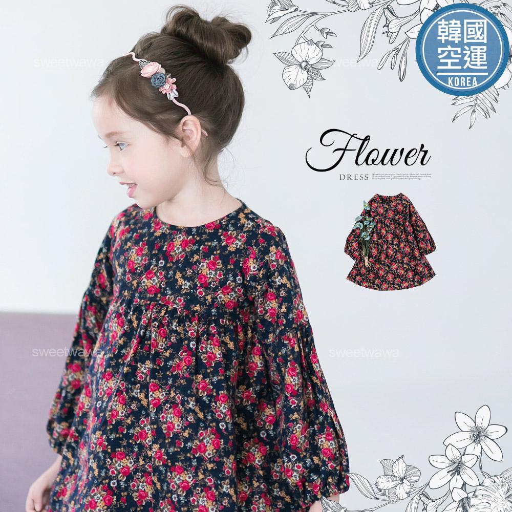 韓國童裝~歐風彩繪花漾蓬袖傘狀洋裝240273水娃娃時尚童裝