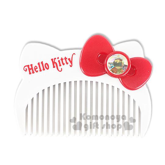 〔小禮堂〕Hello Kitty 造型平扁梳子《白.大臉.盒裝》 8021660-27431