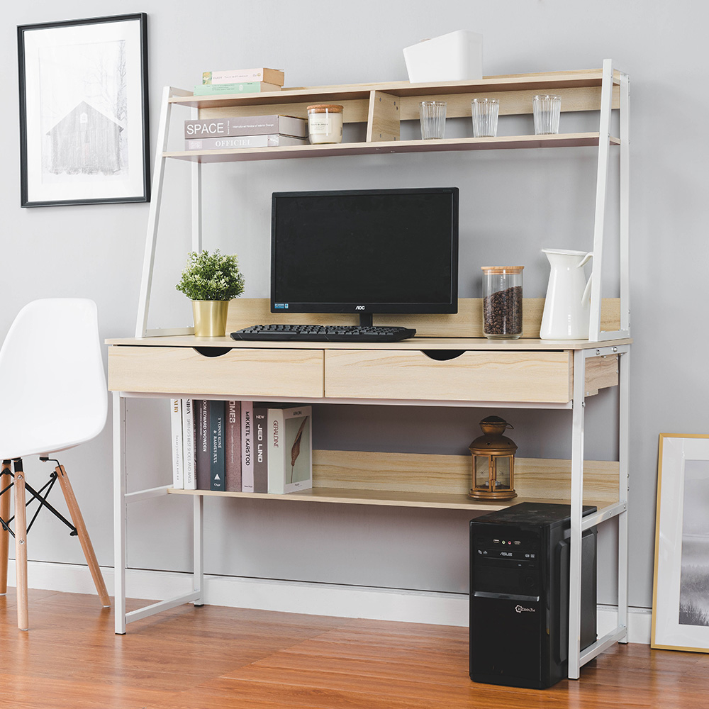 樂嫚妮 書桌 工作桌 辦公桌 雙抽屜多層收納功能型書桌-楓櫻木