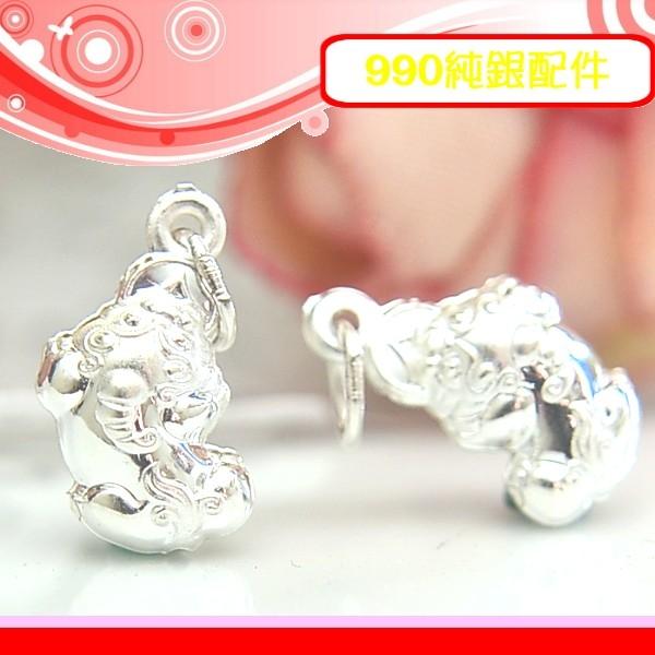 銀鏡DIY S990純銀DIY材料配件/雙面立體招財咬錢貔貅吊墜D-(小)~適合手作蠶絲蠟線/幸運衝浪繩