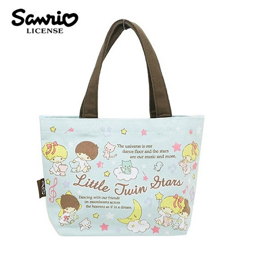 粉綠款日本進口雙子星KIKILALA帆布手提袋便當袋帆布包三麗鷗Sanrio 439088