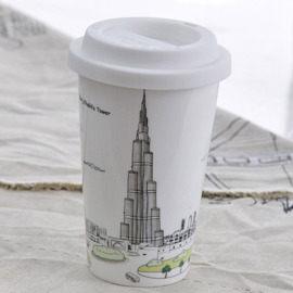 Bella House我不是紙杯~城市風情系列雙層陶瓷杯杜拜哈利法塔