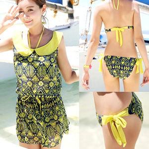 比基尼泳裝雪紡外罩衫甜美幾何圖騰3三件式泳衣泳褲.修身溫泉泡湯spa游泳衣專賣店熱銷