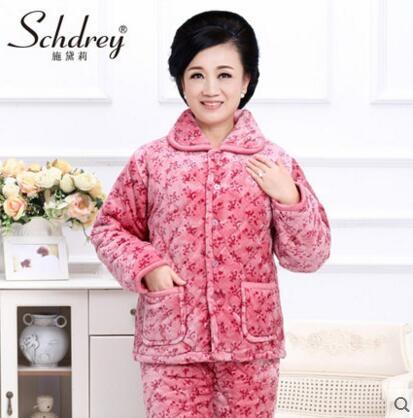 冬季中老年人睡衣女珊瑚絨夾棉加厚套裝大碼法蘭絨媽媽家居服老人