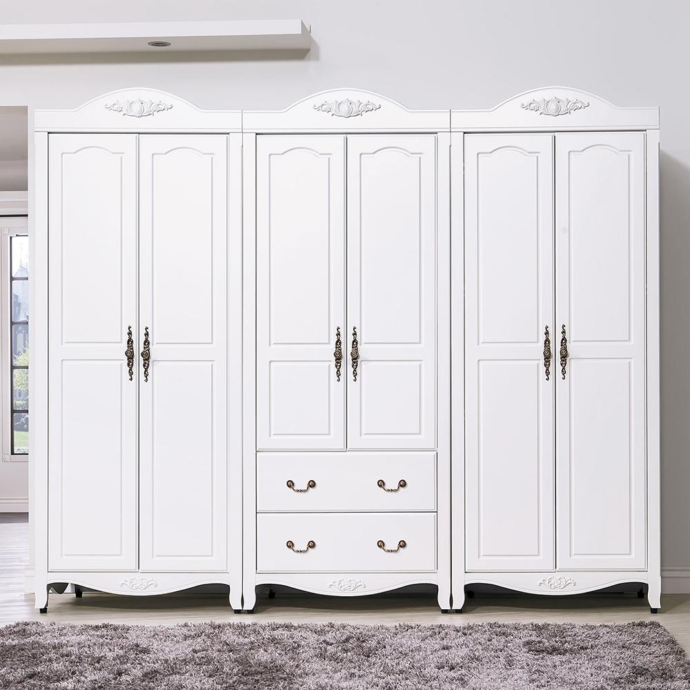 森可家居艾拉鄉村8尺衣櫥6HY48-1衣櫃白色法式鄉村風古典公主