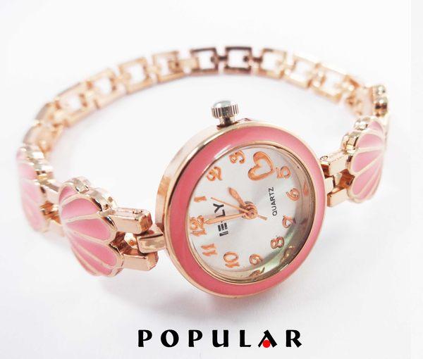 流行馨飾力珍珠貝殼可愛造型手鍊錶三色可選