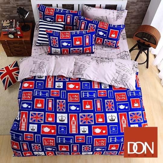 加大四件式蜜絲絨全舖棉兩用被床包組-DON漫遊倫敦