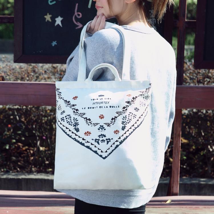 大帆布袋日韓女學生帆布手清新環保袋拎袋