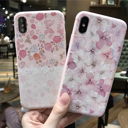 SZ35 iPhone X手機殼粉嫩玫瑰浮雕粉色系iPhone7 8 plus手機殼iPhone6s手機殼