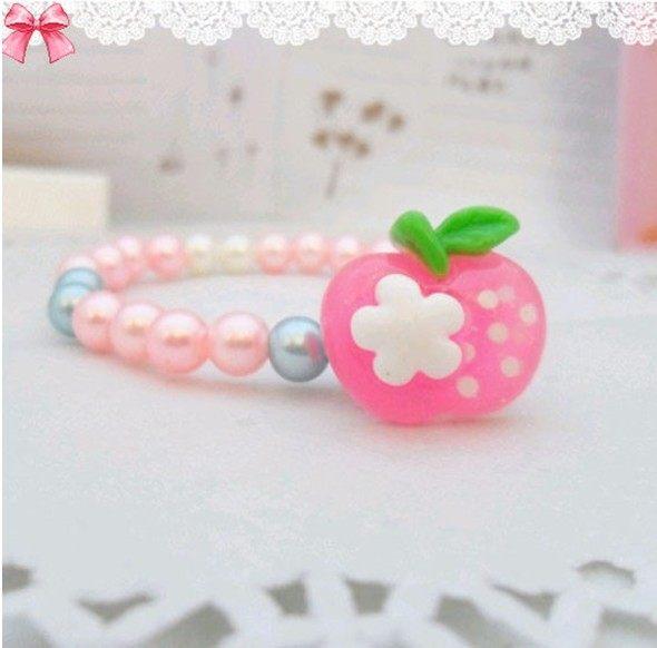 【TwinS伯澄】超美! 韓版粉嫩寶寶(兔子/蘋果/多款)珠珠手鍊