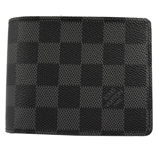 茱麗葉精品全新名牌Louis Vuitton LV N62663黑棋盤格MULTIPLE雙折簡約短夾-黑灰預購