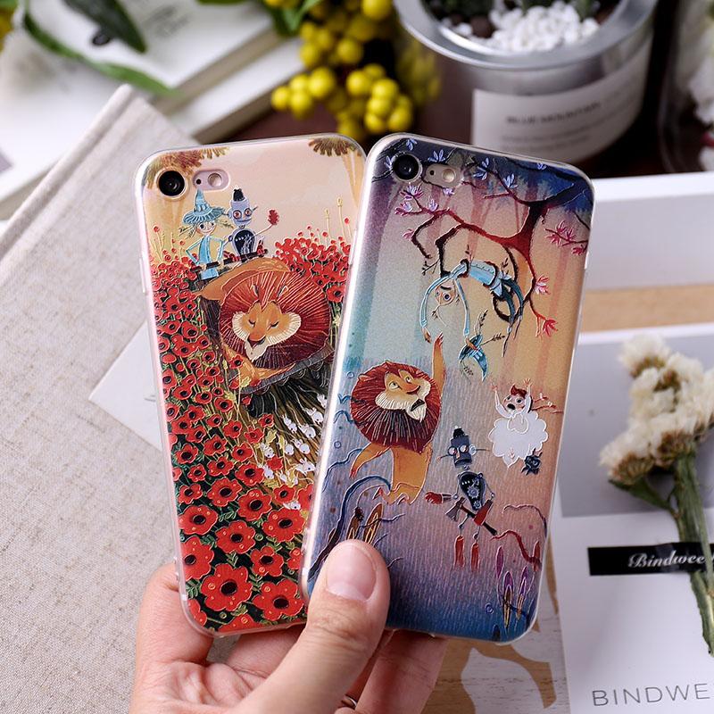 iPhone手機殼可掛繩愛麗絲夢遊可愛獅浮雕矽膠軟殼蘋果iPhone7 iPhone6 iPhone5